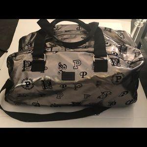 Pink victoria secret travel bag silver